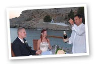 bottle of local champagne on the beach  platform after the wedding ceremony